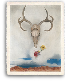 Georgia O'Keeffe's painting, Summer's Day contians elements which have become icons for her work, the floating skill over the desert with desert flowers floating over the mountains.