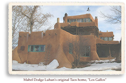 Mabel Dodge Luhan's first home in Taos, NM borderd on Taos Pueblo land, and has a stunning view of the Taos Mountains. When she and Tony Luhan wnet on to build a new home in the center of Taos, this home served as a guest house to the many artists and writers who visited.