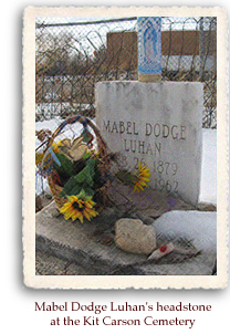 Mabel Dodge Luhan's headstone and grave at Kit Carson Cemetery, Taos, NM