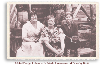 Mabel Dodge Luhan, Frieda Lawrence and Dorothy Brett in Taos, NM